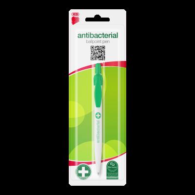Antibakteriaalne pastapliiats ICO valge rohelise klambriga, sinine südamik. Blisterkaart