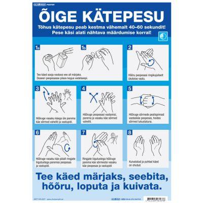 Ohutus - silt - ÕIGE KÄTE PESU, A3 lamineeritud, eesti keeles - Õiged kätepesu võtted koondatud ühele postrile, U2020
