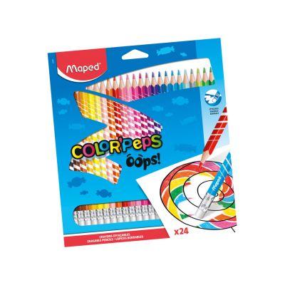 Värvipliiats ColorPeps Oops! 24värvi, kummiga, Maped