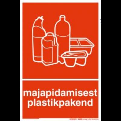 Kaitsekilega kaetud kleebis - Prügi sorteerimine - Plastikpakend majapidamisest, K200mm L135mm, pikaajalise liimigarantiiga HiTack kleebis