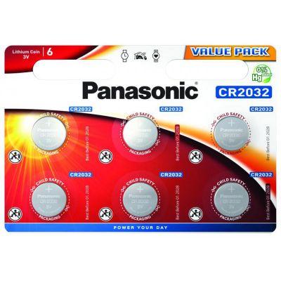 Patareid Panasonic CR2032/6B, 6 patareid, 3V Lithium  220mAh diam 20mm h 3,2mm