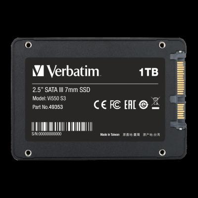 "Kõvaketas SSD 1TB Verbatim Vi550 S3 2.5"" 7mm SATA 6Gb/s R560MB/as Wr535MB/s 3D-NAND Phison-cotroller"