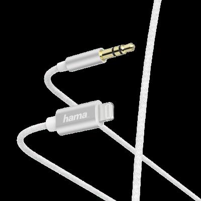 Audiokaabel Hama Lightning - 3.5mm 3-pin pistik, valge 1.0m AUX-In adapterkaabel Apple seadme heliseadmega ühendamiseks