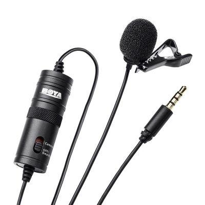 Mikrofon Boya BY-M1 Lavalier, 3.5mm 4-pin või 6.3mm stereo ühendus, kaabel 6m, kompaktne clip-on kinnitus, tuulekaitse, LR44 patarei