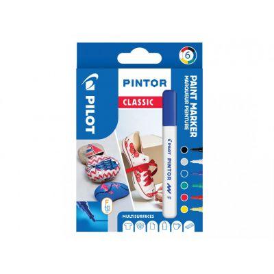 Marker Pilot Pintor , FINE 1-2,9mm, koonus ots, regular põhi-6värvi/kompl,veebaasil