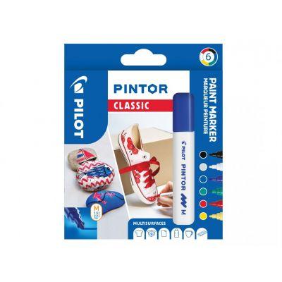 Marker Pilot Pintor Medium 1,4-4,5mm, koonus ots, regular põhi-6värvi/kompl,veebaasil