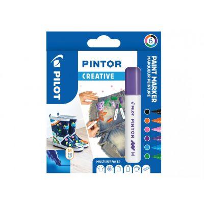 Marker Pilot Pintor Medium 1,4-4,5mm, koonus ots, Creative 6värvi/kompl,veebaasil