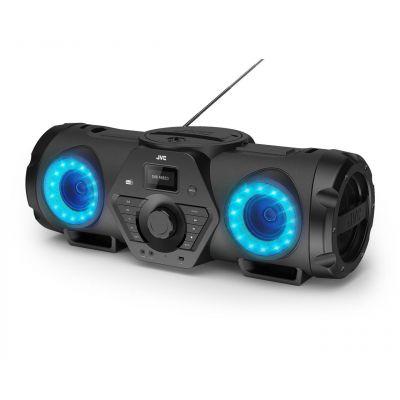Magnetoola JVC RV-NB200BTBP 60W BT5.1, AUX, FM/AM, CD/USB MP3, 6.3mm quitar/mic, pult, LED valgusefektid, 5000mAh aku, õlapael, 7.24kg