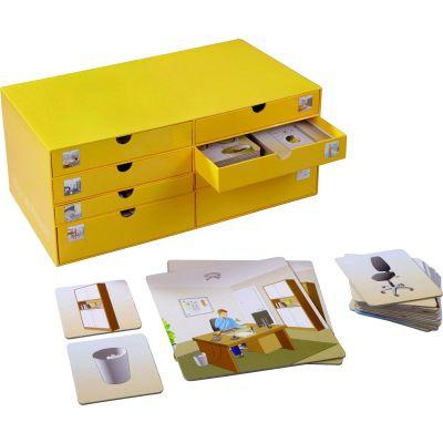 Õppekaardid sahtlitega riiulis, 15 suurt ja 245 väikest kaarti, kartongist riiul 40x17x20cm