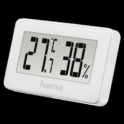 Termomeeter-hügromeeter Hama Mini white/valge, riputusaas/magnetkinnitus, vahemik -10C kuni +50C, RH20-95, patarei CR2025 6.5x1x4cm