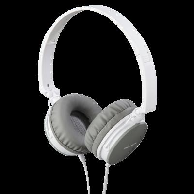 Kõrvaklapid+mikrofon Thomson HED2207WH/GR headphones, on-ear 40mm, valge/hall, 4-pin 3.5mm Stereo, mikrofon kaablil, kaabel 1.2m