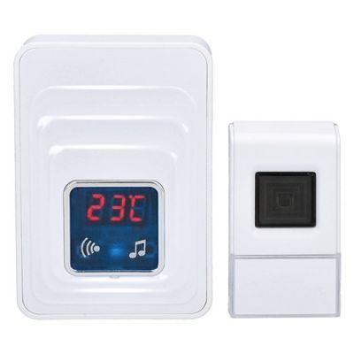 Uksekell juhtmevaba saatjaga Solight, vastuvõtja termomeetriga, LED valgustus, seinapesasse 230V, IP44 kellanupu patarei A23 12V