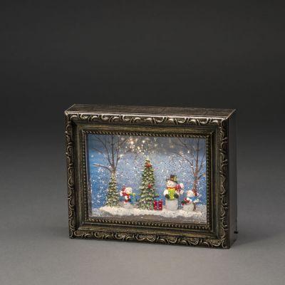 Lauakaunistus/ Pildiraam, lumememme ja jõulukuusega K-19,5cm, L-24,5cm, wwLED, 5H taimeriga, lisada patareid 4xAA