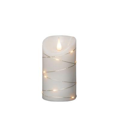Valge vahaküünal 7,5x13,5cm 13ww LED hõbedase tuledeketiga, 3D-küünlaleek+taimer, lisada 2xC patareid