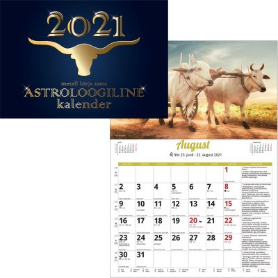 Seinakalender Astroloogiline 297x420mm, klamberköide