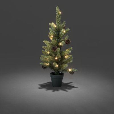 Jõulukuusk/kunstkuusk rohelises potis, 20ww LED tulega, H-60cm, L-27cm, +taimer 6 või 9 tundi; lisada patareid 4xAA