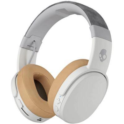 Kõrvaklapid+mikrofon Skullcandy Crusher Grey/white/valge-hall Wireless Bluetooth, travel bag, 40mm over-ear microUSB AUX