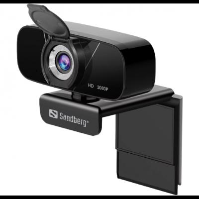 Veebikaamera Sandberg USBWebcam Chat 1080P FullHD 1920x1080 30fps 2MPix klaasobjektiiv 90-kraadi statiivikeere black/must USB2.0 kaabel 1.5m