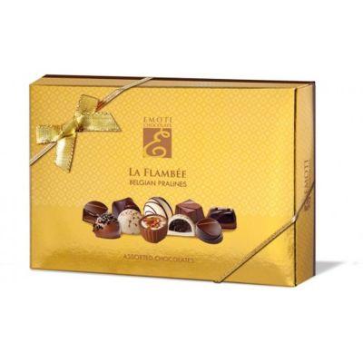 Shokolaadiassortii kuldses karbis 120g, Emoti La Flambee
