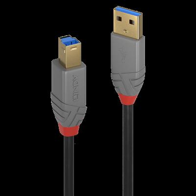 USB-kaabel USB3.0 A-B 5m Lindy Anthra, kullatud pistikud, SuperSpeed kuni 5Gbit/s, PVC korpus, Kolmekordne varjestatud kaabel