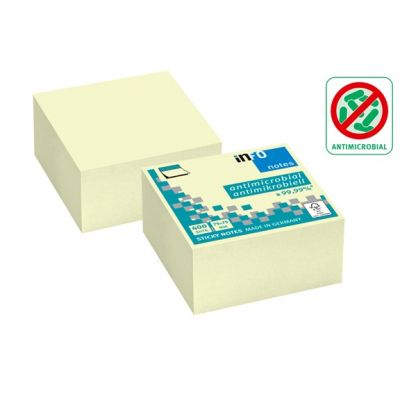 Märkmepaber iseliimuv INFO, 75x75mm (kuubis 400l.),kollane,antimikroobne