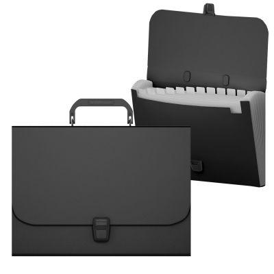Portfell A4 Erich Krause Classik 12-jaotust , must PP-plast,käepidemega