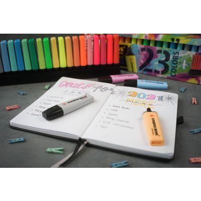 Helestusmarkerid Stabilo Boss Original 23 värvi  (9 regulaar, 14 pastell ) laualusel, komplekt