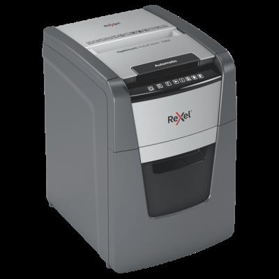 Paberipurustaja Rexel Optimum AutoFeed+ 100X, 4x28mm P4, 8-lehte/100-lehte automaatsöötjast, 34L, Home 1-2 users