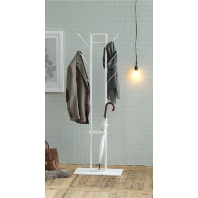 Riidenagi/põrandanagi VINSON vihmavarju hoidjaga AC80780, 56x28xK-165cm/ valge metall