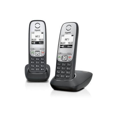 """Telefon Gigaset A415 Duo must, juhtmevaba lisatoruga komplekt, 1.8"""" ekraan, DECT,GAP, kuni 3 lisatoru, numbrinäit CLIP"""
