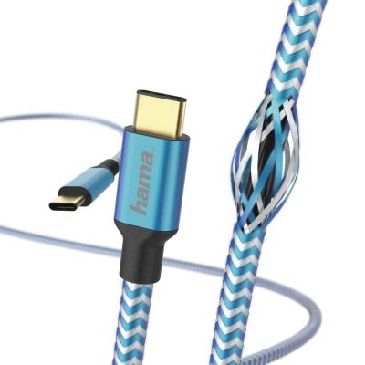 USB-kaabel USB-C USB-C 1.5m Hama helkiv nylonkate, sini-valge, voolutugevus kuni 3A 20V, USB-C-plug/USB-C-plug USB2.0 kiirus kuni 480Mbps