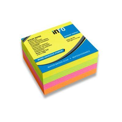 Märkmepaber iseliimuv INFO, 75x75mm (kuubis 320l.) 4 värvi