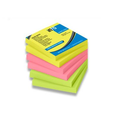 Märkmepaber iseliimuv InfoNotes, 75x75mm (pakis 6x80l.), brilliant mix 3 värvi