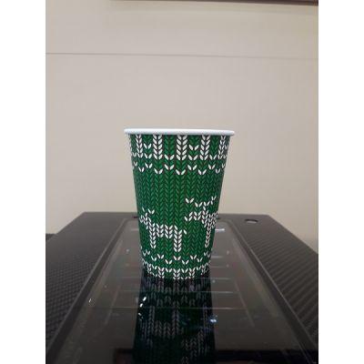 Kohvitops papist kindamustriga (punane/roheline) 185ml (7,5oz) 75tk/pk