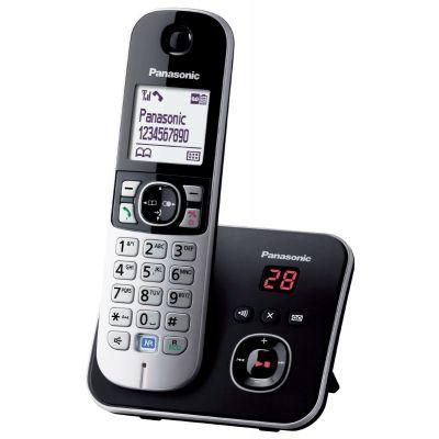 Telefon Panasonic KX-TG6821FXB must/hõbe juhtmevaba DECT, numbrinäit, 1,8` valge taustvalgusega LCD ekraan