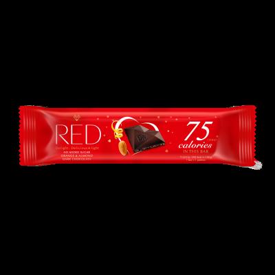 Tume shokolaad RED apelsini ja mandliga, suhkruvaba, 26g