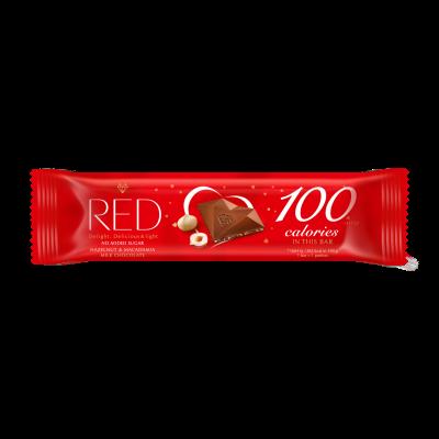 Piimashokolaad RED sarapuu- ja makadaamiapähklitega, suhkruvaba, 26g