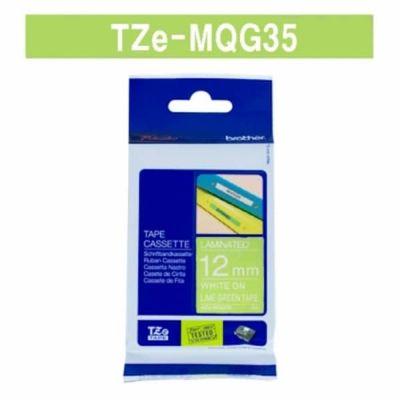 Kleepkirjalint Brother TZE-MQG35 laimiroheline, valge tekst, laius 12mm